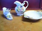 3 piece set of Ceramic Decorative Dishes Flower Shoe  Bowl and pitcher