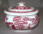 Spode China Pink Tower Covered Sugar Bowl England Discontinued Scenic w/Flowers