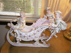 RARE ANTIQUE FRENCH VICTORIAN STYLE SLEIGH LARGE PORCELAIN W/3 PEOPLE STUNNING!