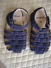 Pediped NWOT navy suede strappy shoes size 23 padded footbed white topstitching