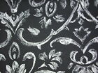 Black with Faded Damask Large Print fabric- home decor- 1 yd