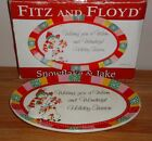 Fitz and Floyd SNOWFLAKE & JAKE Christmas SNOWMAN Plate Dish w/Box