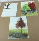 Lot of 3 Pages Original Drawings Sketches Pastels And Charcoal Trees Landscape
