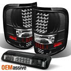 For 04-08 Ford F-150 Black LED Tail Lights + Smoked LED 3rd Brake Lamp 2004-2008