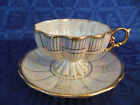 ROYAL SEALY FOOTED LUSTER TEA CUP & SAUCER SET FLUTED WHITE PEARL JAPAN