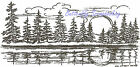 Sunrise Pine Trees Scene Wood Mounted Rubber Stamp Northwoods Stamp O9554 New