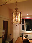 ANTIQUE c1910 EUROPEAN 6 SIDED ORNATE BRASS WITH JEWELS HANGING LAMP CHANDELIER