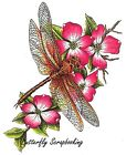 DRAGONFLY Floral Flowers Cling Unmounted Rubber Stamp CC Designs JD1018 New