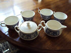 6 pc Vintage Ceramic off White Blue Berry Leaf Design Sugar bowl, creamer