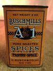 Vintage Busch Mills A 1 Cinnamon Pastry Spice Tin with Mistake Correction UNIQUE