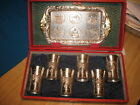 Silver Plated SAKE SET Occupied Japan 6 Mugs Goblet Cup with Tray Display Box