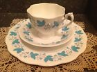 3 pieces Queen Anne Fine Bone China Tea Cup,Saucer & Salad Plate blue leaves