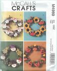 McCall's 4989 Sewing Pattern SEASONAL WREATHS ~ CHRISTMAS HALLOWEEN Uncut