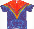 Adult TIE DYE Funky Fire V T Shirt hippie art Small-XL