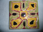 Vintage 1946 Hand Made Painted Pottery Tile Yellow Green Flower Floral 5