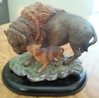 Homco Masterpiece Porcelain AMERICAN BISON w/ BABY (1994) w/ Wooden Base