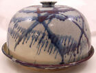 Hand Thrown Pottery Cake Plate and Cover Signed MKS Blue and Brown Splatter Drip
