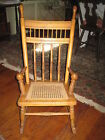Antique Chair Doll/Child Oak Spindle Back & Cane Rocking Chair