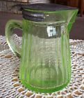 Vintage Green Depression Glass Syrup Pitcher With Lid