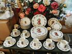 41 PCS. GIBSON CHRISTMAS SANTA STONEWARE DINNERWARE DISHES -SETTING FOR 8