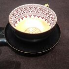 VINTAGE HAND PAINTED CERAMIC ON BRASS DEMITASSE TEA CUP AND SAUCER UNIQUE
