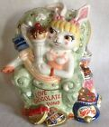 FITZ & FLOYD I LOVE CHOCOLATE FUND BANK GIRL BUNNY RABBIT IN CHAIR W/ SWEETS
