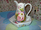 CAPODIMONTE FLORAL PITCHER & BOWL~LARGE MULTI COLORED FLOWERS~HAND PAINTED~