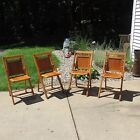 Antique Set Of 4 Wooden Folding Chairs Slat Seat & Back - Art Deco Wood Vintage