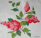 SWEET BRILLIANT RED & PINK LILAC PRINT WILENDUR COTTON PANEL VIBRANT COLOR COMBO