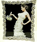 Pearls and Crystals Jeweled Silver Plated 8 x 10 Wedding Picture Frame