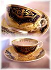 ANTIQUE HAND PAINTED SPODE ENGLAND CUP AND SAUCER COBALT BLUE AND FANCY GOLD (B)