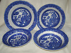 ANTIQUE ALLERTON'S BLUE WILLOW-SET OF 4-SERVING BOWLS,FLARED RIMS-MARKED,1903-12
