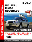 ISUZU DMAX D MAX D-MAX COLORADO 2007 - 2012 FACTORY SERVICE REPAIR FSM MANUAL