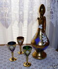 Cobalt Blue Bavarian Wine Decanter Footed, Handled & Matching Stopper. Cordials