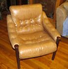 DANISH MODERN WOOD FRAME Leather Upholstered Chair Mid Century 1970s