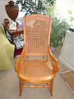 Vintage Lincoln Rocker with Caned Seat, Back and with Carved Top