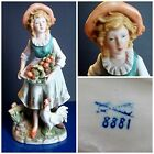 Porcelain Farm Girl With Fruit Basket And Rooster Figurine - Homco