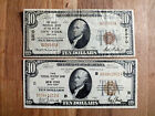 Pair of $10 Series of 1929 Brown Seal NATIONAL CURRENCY NEW YORK