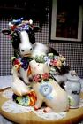 FITZ & FLOYD FARM COUNTRY CHIC COOKIE JAR COW PIG GOOSE GOAT CAT OWL & BIRD