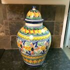 Antique Italian Hand Made and Decorated  Ceramic Pottery Storage Jar.    Large!