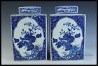 Fine Chinese Beautiful A Pair Blue and White Porcelain Tea Leaves Pot