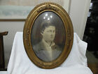 ANTIQUE OVAL GESSO WOOD PICTURE FRAME YOUNG MAN CONVEX BUBBLE GLASS ORIGINAL