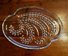 Vintage Embossed Fern Leaves Oval Clear Glass Snack Appetizer Plate EUC!