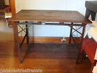 Antique Steampunk Industrial HORSE TACK DRAFTING TABLE wood & metal home decor