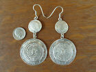 Vintage Taxco Mexico 925 Sterling Silver Large Mayan Sun God Calendar Earrings
