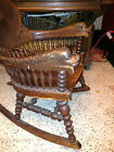 ANTIQUE  WOOD    ROCKING  CHAIR  WITH  CARVED  SERPENT  ARMS