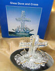GLASS DOVES & CROSS ON A MIRROR BASE FIGURINE WITH GOLD ACCENTS - NIB