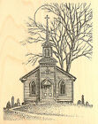 Country CHURCH Scene Wood Mounted Rubber Stamp Impression Obsession G1810 NEW