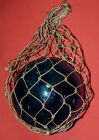 Antique Japanese Blue Blown Glass Ball Fishing Float Buoy Rope Net Nautical