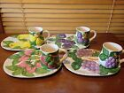 SET OF 4 Shafford FRUIT DU JOUR Snack Luncheon Plates w/ Matching Cups Mugs 1987
